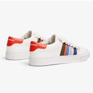 Tory Burch Sport Ruffle Lace Up Leather Sneakers